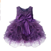 Wholesale birthday baby dress years - Wholesale- Newest Infant Baby Girl Birthday Party Dresses Baptism Christening Easter Gown Toddler Princess Bow princess Dress for 0-2 Years