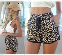 Wholesale Womens Loose Print Pants - Fashion Womens Shorts Hot Pants Spring and Summer Loose Leopard Printed Shorts BeachCasual Short Pants Pink Leopard