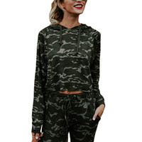 Wholesale Womens Tops Neck Design - Autumn Spring Long Sleeved Newly design Womens Camouflage Hoodie Sweatshirt Hooded Pullover Tops Blouse