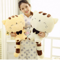 Wholesale Low Price Cat Toys - Wholesale-45CM Lovely Big Face Smiling Cat Stuffed Plush Toys Soft Animal Dolls Factory Lowest Price Best Gifts for Kids High Quality