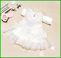 Wholesale Tutu Promotion - Christmas Promotion hot selling baby girls vestido sleeveless bow lace print pink white children dresses outfit free sshipping
