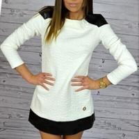 Wholesale Women Fashionable Mini Dresses - New 2016 Women Long Sleeve Tshirt Dress Above Knee, Mini Straight Dress Fashionable Autumn Patchwork Round Neck Slim White Dress