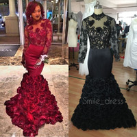 Wholesale Dark Green Rose Petals - Burgundy Mermaid Prom Dresses With Floral Rose Skirt Lace Long Sleeve Backless Formal Evening Gowns Pageant Dress