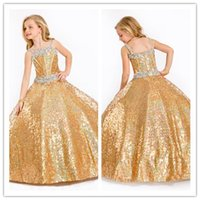 Wholesale Spaghetti Strap Dress Shining - 2016 New Fashion Shine Sequins Little Girls Pageant Dresses Exquisite Beaded Strap Flower Girls Ball Gown Floor-length Custom Made