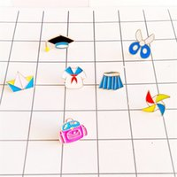 Wholesale Cute College Clothes - Wholesale- College style childhood cartoon cute anime series skirt  scissors wind doctorial hat Enamel women brooch Clothing oil drip pin