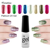 Großhandel - Verntion 3D Glitzer Vernis Semi Permanent Gel Lack Top Basis Mantel Langlebig Platin UV LED Soak Off Nagellack