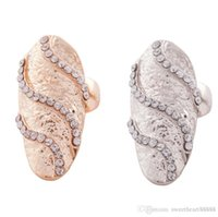 Wholesale Silver Wedding Ring Waves - New 2colors Cute Retro Exquisite Queen Rhinestone Crystal Waves Design Gold Silver Ring Finger Nail Rings