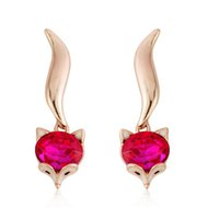 Wholesale Yellow Stone Stud Earrings - New Arrivals 18K Yellow Gold Plated Rose Red Stone Fox Animal Stud Earrings Fashion Jewelry for Women
