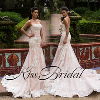 Wholesale strapless top wedding gowns resale online - Pink Blush Lace Mermaid Wedding Dresses Strapless Ivory Lace Arabic Bridal Gowns Top Qualtiy Bridal Gowns