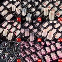 Wholesale Instant Glue - Fashion Nail Art 9 Patterns For Your Options 24pcs instant False Nail Decoration With Nail Glue