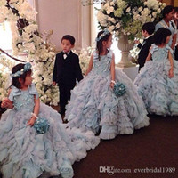 Wholesale Beautiful Birthday Dresses For Toddlers - 2016 Amazing Beautiful Ball Gown Flower Girls Dresses Applique Ruched Formal Kids Wear For Party Bow Court Train Toddler Dress