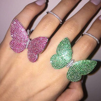 Wholesale Moving Color - The butterfly ring of sterling silver 925 with the moving butterfly ring with moving wings with color stone wedding jewelry