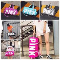 Wholesale Canvas Duffel - 5 Colors Pink Duffel Bags Canvas Secret Storage Bag Unisex Travel Bag Waterproof Victoria Casual Beach Exercise Luggage Bags CCA6912 20pcs