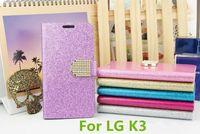 Wholesale Glitter Stylus - Glitter Bling Case Flip PU Leather Diamond Rhinestone Wallet pouch Cover For LG K3 LS450 K10 stylus 2 ls775 stylo 2 plus MS550
