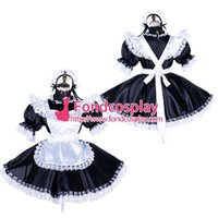 Wholesale Tailoring Accessories - Free Shipping lockable Sissy maid satin dress Uniform cosplay costume Tailor-made[G1756]