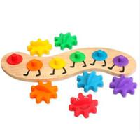 игрушки-гусеницы для детей оптовых-Big Gear Caterpillar 35см Деревянные игрушки Обучающие Монтессори Материал Интеллект детские детские игрушки-головоломки