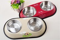 Wholesale Bowl Feeders Stainless - Stainless Steel Pets Food Bowl Easy Washing Anti Slip Drink Water Having Dinner Bowls Two Specifications Hot Sale 12 8jn J R