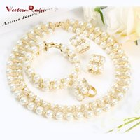 Wholesale Copper African Choker - WesternRain Vintage Chunky Choker Pearl Necklace sets Wedding Jewelry Sets For Bride Accessories Pearl Jewelry A054