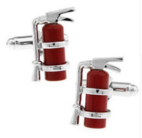 Wholesale Extinguisher Fire - Red fire extinguisher cufflinks Sleeve nail High quality firefighters Manufacturer provides straightly