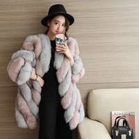 Wholesale Fox Fur Strips - Autumn and winter new women sexy thin fur coat imitation fox fur fur coat long section Europe and the United States fashion coat