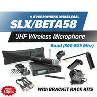 uhf transceptor móvel venda por atacado-Transceptores móveis Microfono Livre UHF SLX24 BETA58 Canções Handheld Para Karaoke Sistema de Microfone Sem Fio Aall Rack Kit Acessórios 10 Pcs
