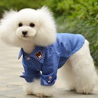 Pet BlueT-shirt con puntini bianchi Ventilare Puppy Dog Coats Cheap Cute Bear Pet Vestiti Pet fornitore di buona qualità Ordine della miscela 50PCS / LOT
