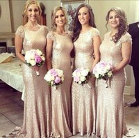 Wholesale Charmeuse Sheaths - 2016 New Elegant Cheap Sequined Long Bridesmaid Dresses Sexy Jewel Neck Short Sleeve Lace Backless Glitz Sheath Prom Gowns For Party BO7240