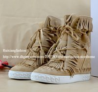 Wholesale Green Wedge Boots Women - 2016 brand suede tassel ankle boots genuine leather fringed wedge sweet candy women shoes 16 Colors
