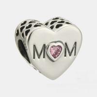 amuletos para mamá al por mayor-MOM charms plata esterlina se adapta para pandora estilo pulseras día de la madre envío gratis 966H9
