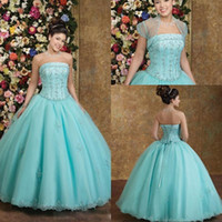 Wholesale Discounted Pageant Dress Beading - Cheapest Strapless Ball Gown Slimming Quinceanera Dresses Floor Length Beads Lace Appliqued Puffy Prom Dress Discount Pageant Party Gowns