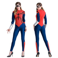 Wholesale Nylon Mask Woman - Classic spider-man masked woman Spiderman modelling role playing Halloween costume jumpsuit
