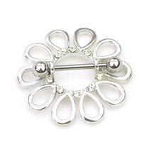 Wholesale Stainless Steel Nipple Piercing - 0660 Nice flower style NIPPLE ring piercing jewelry 10 pcs clear color stone drop piercing body jewelry shipping