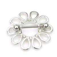 ingrosso gioielli piercing fiore-D0660 (1 colore) bel fiore stile NIPPOLO anello piercing gioielli 10 pz colore chiaro pietra goccia piercing monili del corpo libero