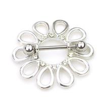 bijoux mamelons percés achat en gros de-D0660 (1 couleur) Belle fleur style NIPPLE anneau piercing bijoux 10 pcs couleur claire pierre goutte piercing corps bijoux expédition