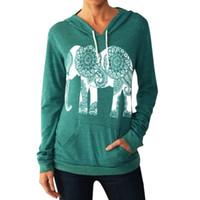 Wholesale elephant print hoodie - Wholesale- Fashion Women Hoodies Sweatshirts Long Sleeve Print Elephant Sweatshirt Casual Basic Mujer Hoodies Plus Size Clothing B6223C