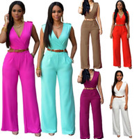 Wholesale Overalls For Ladies - Ladies Rompers and Jumpsuits 2017 Summer Sexy Rompers for Women with Leather Belt Plus Size Overalls for Women Elegant Jumpsuit New Hot