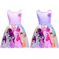 Wholesale Mini Little Ponies - My Little Pony Sleeveless Princess Birthday Party Dress Summer New Girls Cute Cartoon Print Dress 2-8Y