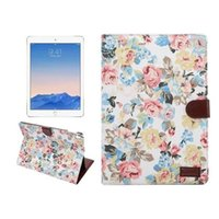 Wholesale Wholesale Floral Jeans Print - For ipad pro 9.7inch floral Jeans pu leather case for apple ipad pro 9.7'' wallet stand with credit card slots