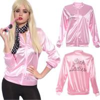casacos de fantasia venda por atacado-Atacado- 2017 New Halloween rosa Hoodies Lady Retro Jacket Womens Fancy Dress traje da graxa Cheerleader mulheres rosa roupas de outono