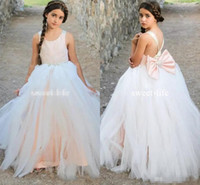 Wholesale White Tire Cap Lights - New Design Dusty Pink 2017 A line Flower Girls Dresses Jewel sleeveless Criss Cross Straps Empire Bow Tulle Tired Skirts Girls Dresses