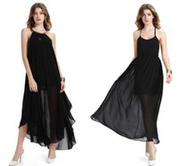 Wholesale Solid Maxi Dresses Wholesale - Stylish Women Dress Chiffon Maxi Dresses Sexy Black Split Summer Beach Long Causal Dresses Sleeveless Backless Lady Dress Clothing Newest