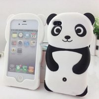 2016 New Popular Cute 3D Panda Soft Silicone Protetor Back Phone Case Cover Cover para iPhone 4 4S 5 5S High Quality
