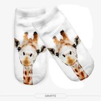 Wholesale Digital Slippers - Free samples Wholesale New Cartoon 3D Digital Prints Ladies Boat Socks Fashion Short Men and Women Adults Cute Giraffe Socks