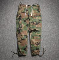 Wholesale Open Leg Pants - Fake Boost SEASONE hip hop KANYE SWET Camouflage Pants Large Pockets Elastic Leg Opening Mens fear of god Casual Trousers