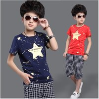 Wholesale Double Breasted Boys Suits - Big Boys Summer Clothing Sets 2016 New Children Short Sleeve T-shirt Tops+Plaid Middle Pants 2pcs Boy Outfits Child Cotton Casual Suits