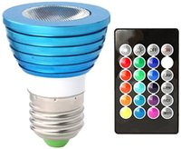 Wholesale lamp case - Blue Case 3W E27 RGB LED Bulb with Memory Function 16 Colors Changing LED Light Bulb with Remote 3W RGB LED Lamp Indoor Spotlight Led Bulbs