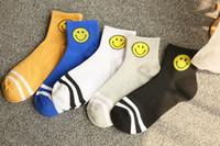 Wholesale Cartoon Korean Girl Boy - Two stripes emoji Korean cartoon boys and girls kids socks tight mouth fashion smiley socks