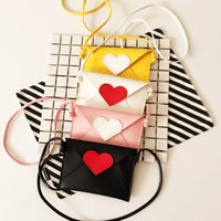 Wholesale baby girl brand purses - Wholesale- Brand New Children Envelope Bag Heart Patchwork Girls Candy Color Messenger Bag Babies Fashion Coin Purse Gifts for Baby