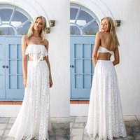 Wholesale Two Piece Beach Wear - 2016 Charming Beach Wedding Dress Romantic Full Lace Two Pieces Boho Bohemian Bridal Gowns Floor Length Sexy Backless Bride Formal Wear