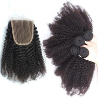 Wholesale Cheap Afros Wholesale - Unprocessed Brazilian Human Hair Afro Kinky Curly With Closure Cheap 4Bundles Human Hair With 1Pc Lace Closure Free Part Kinky Curly